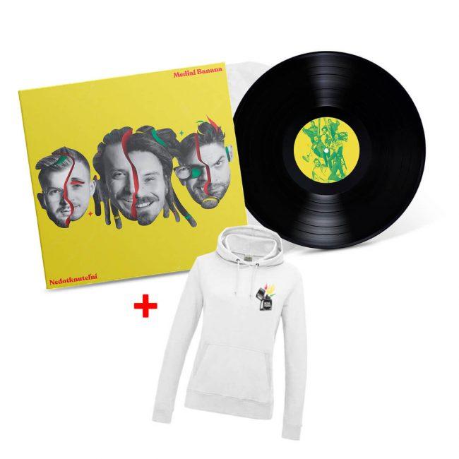 Medial Banana Fyah Blaze Kombo Vinyl + Mikina dámska biela